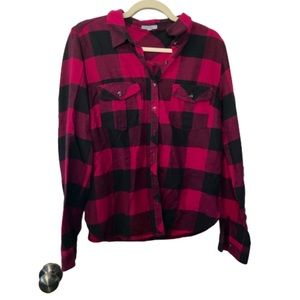 Maurice's large pink buffalo plaid button down top